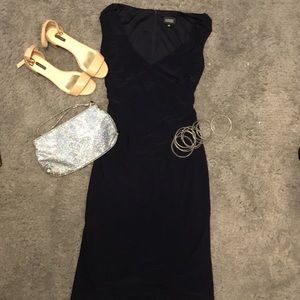 ADRIANNA PAPELL fitted navy dress. Cute and comfy!